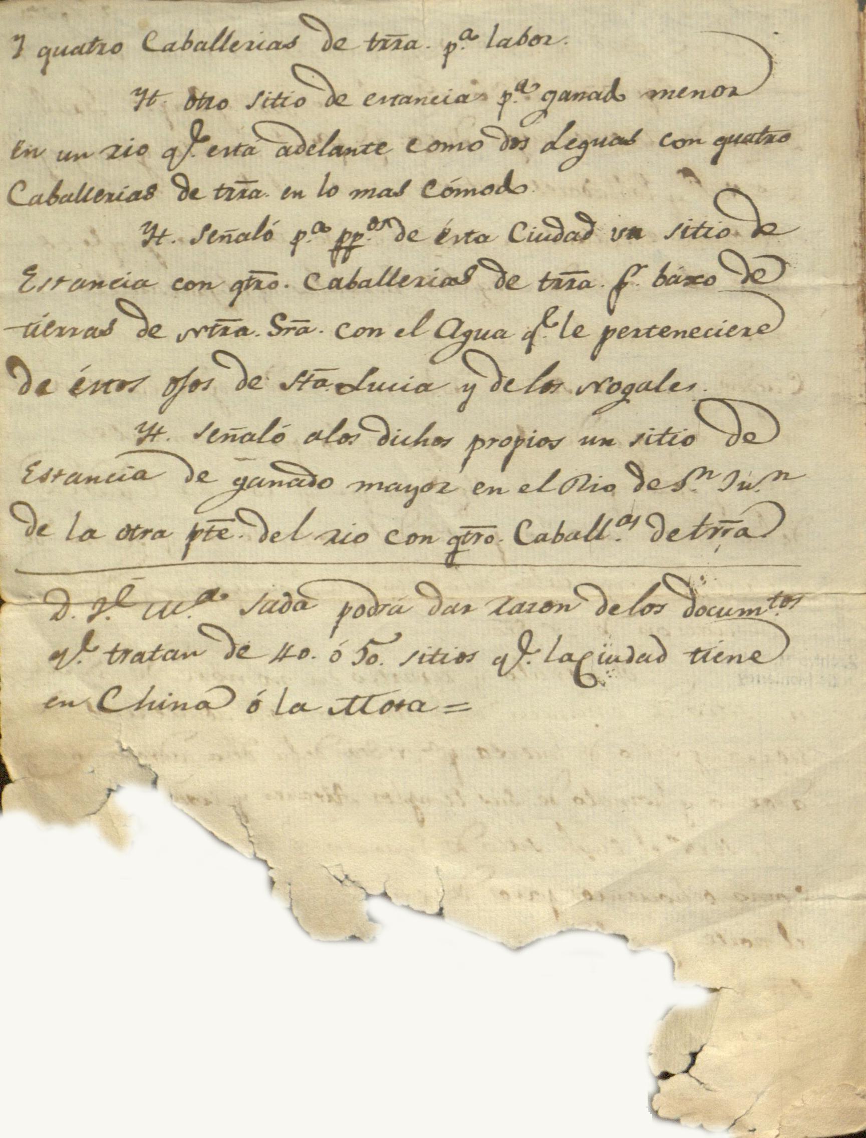 Acta de las mercedes a la virgen fechada el 20 de septiembre de 1596 por orden del capitán Diego de Montemayor.