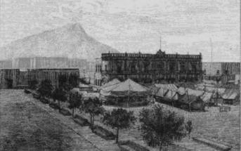 Construcción de la fachada Oriente del Palacio Municipal
